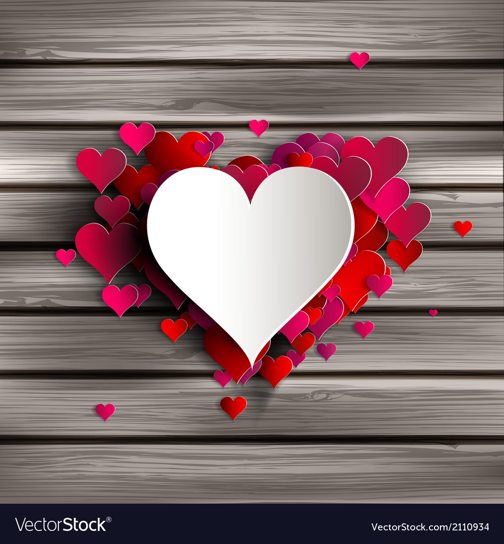 Abstract heart on wooden background vector
