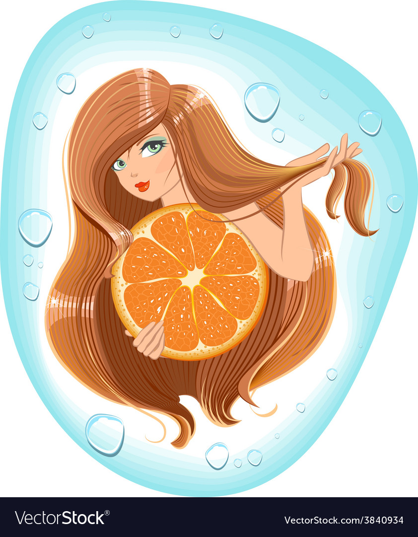 Girl with long hair holds an orange template vector