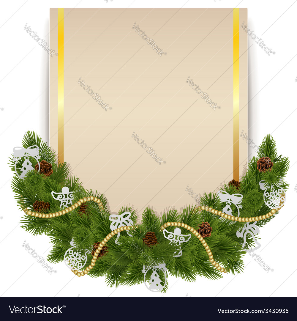 Christmas decoration with card vector