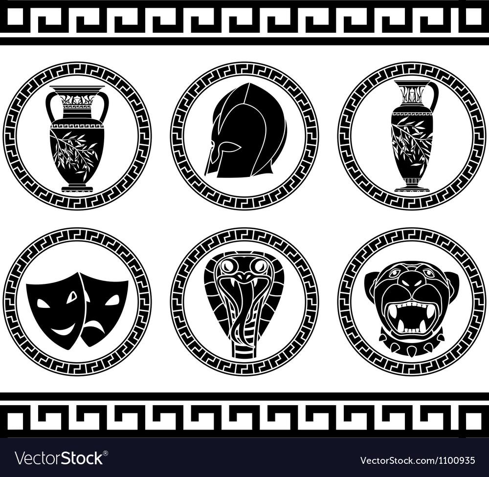 Hellenic buttons stencil third variant vector