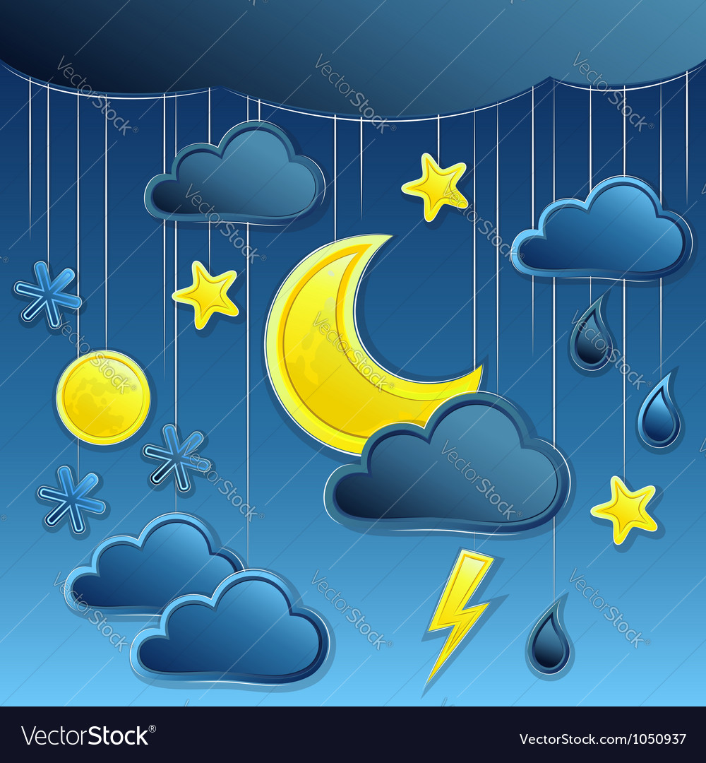 Background with night weather icon vector