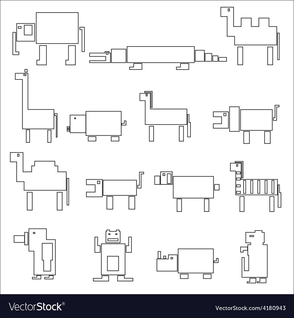 Black square outline digital simple retro animals vector