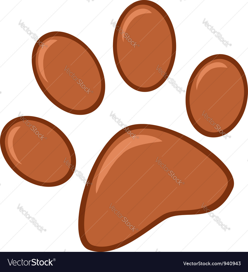 Brown paw print vector