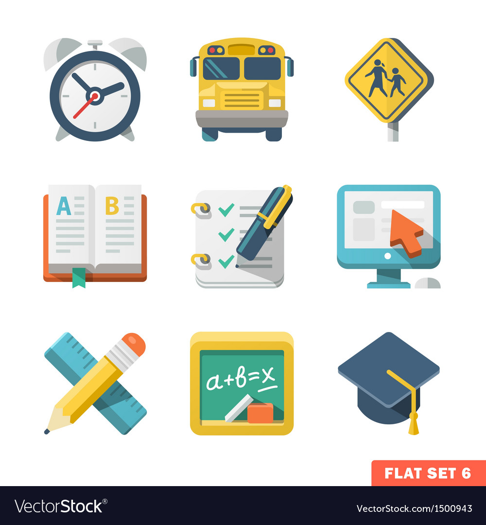 School and education flat icons vector
