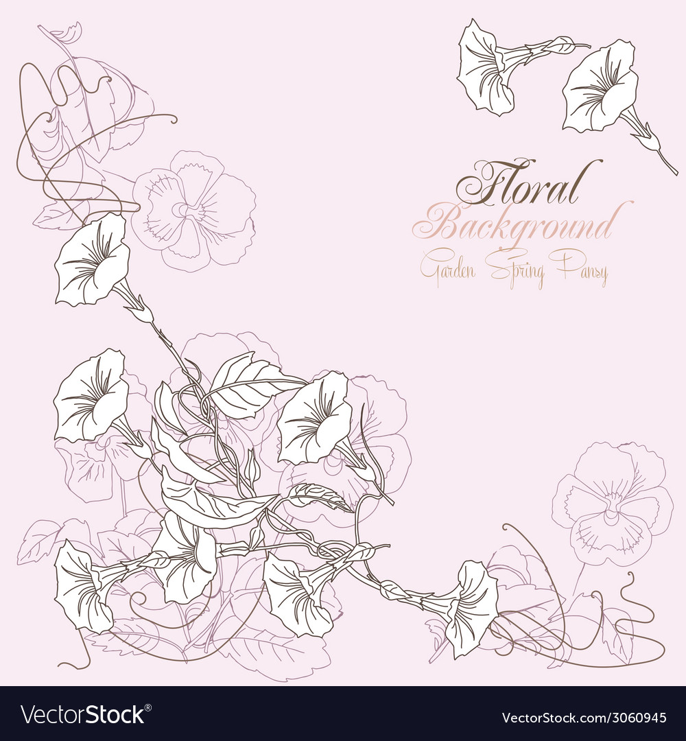 Background with peony and bindweed vector
