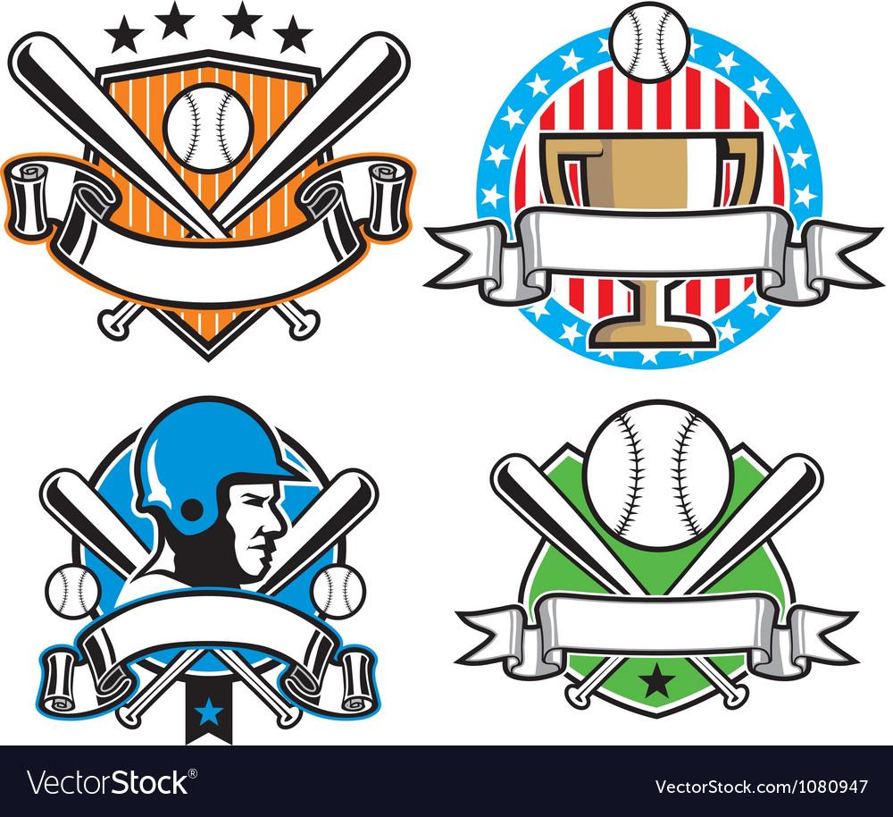 Baseball emblem set vector