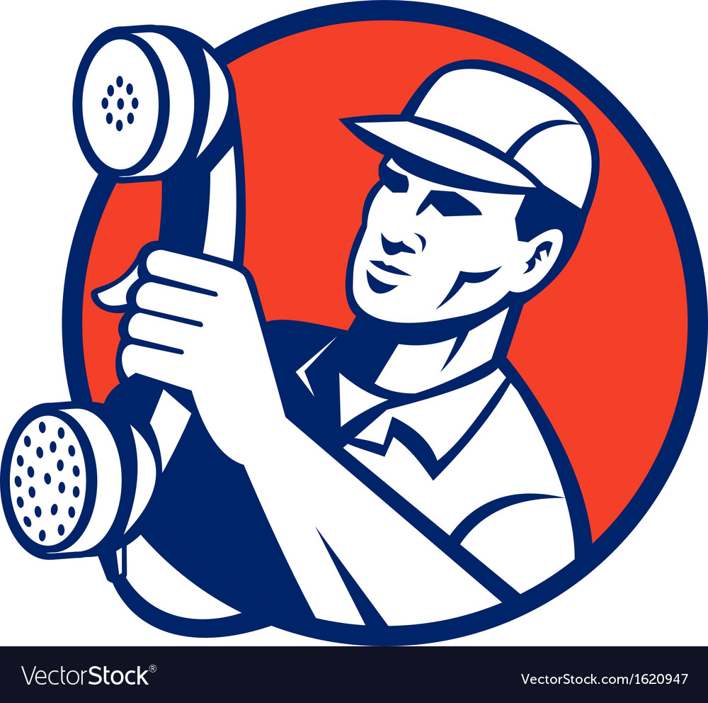 Telephone repairman holding out phone vector