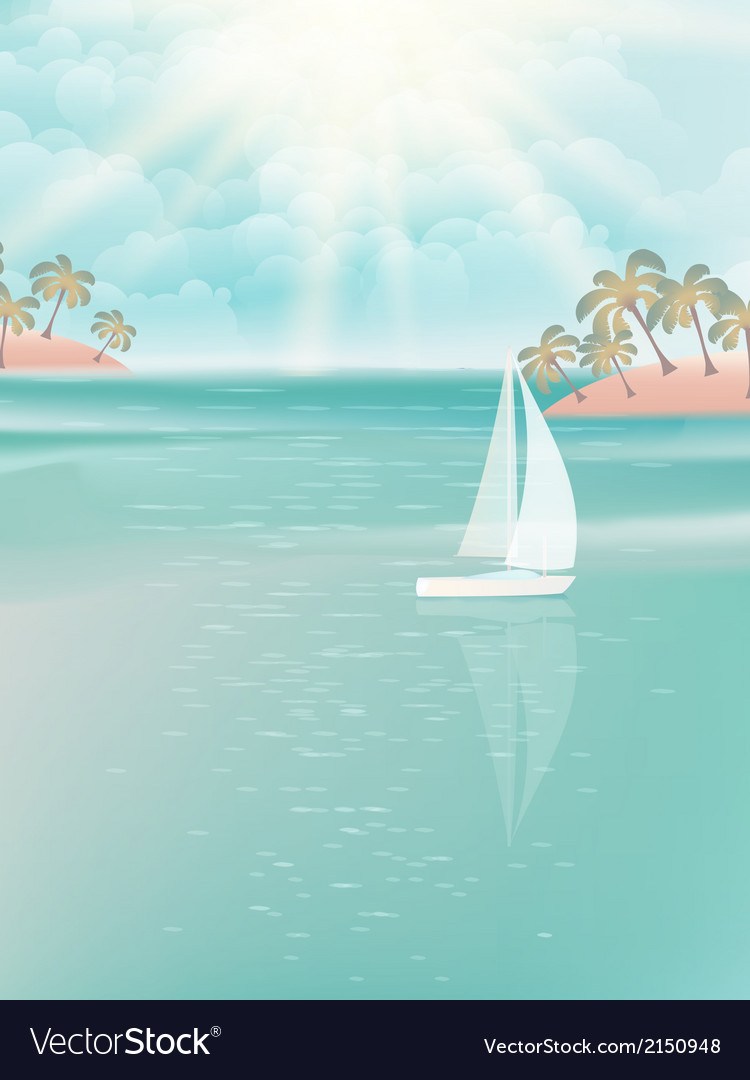 Yacht and blue water ocean eps 10 vector