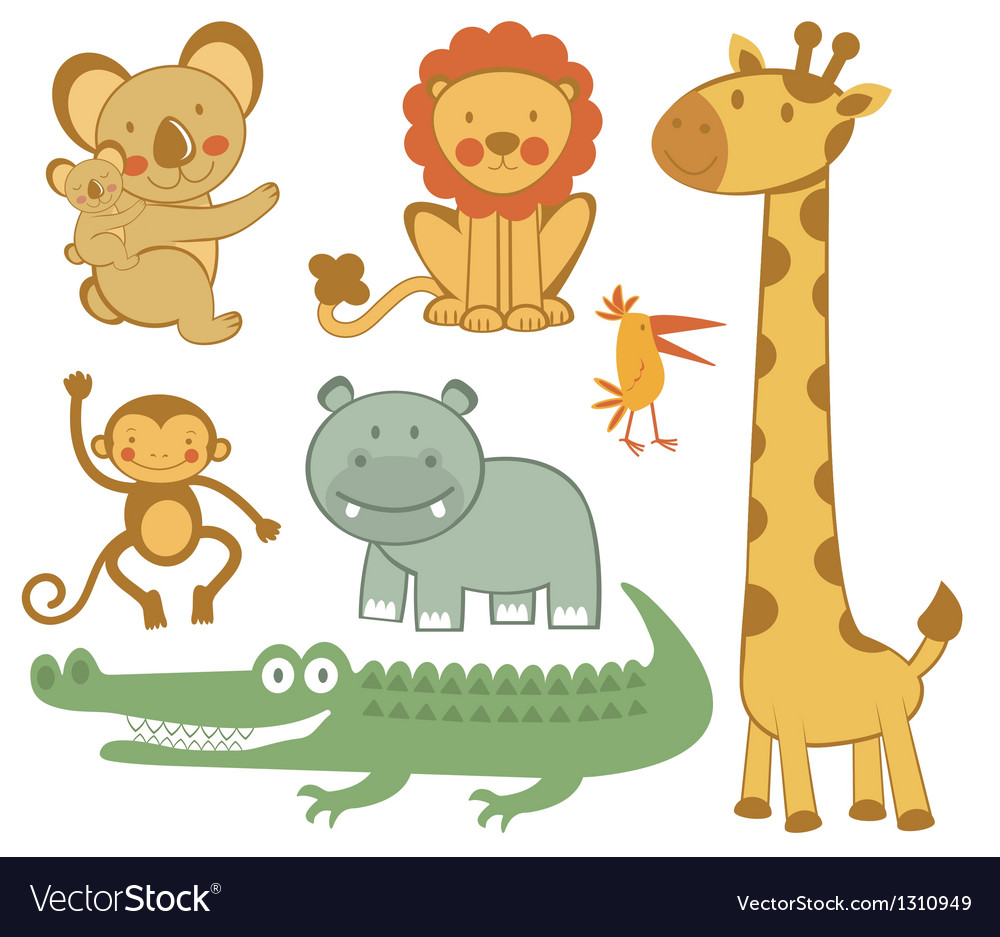 Cute exotic animals vector