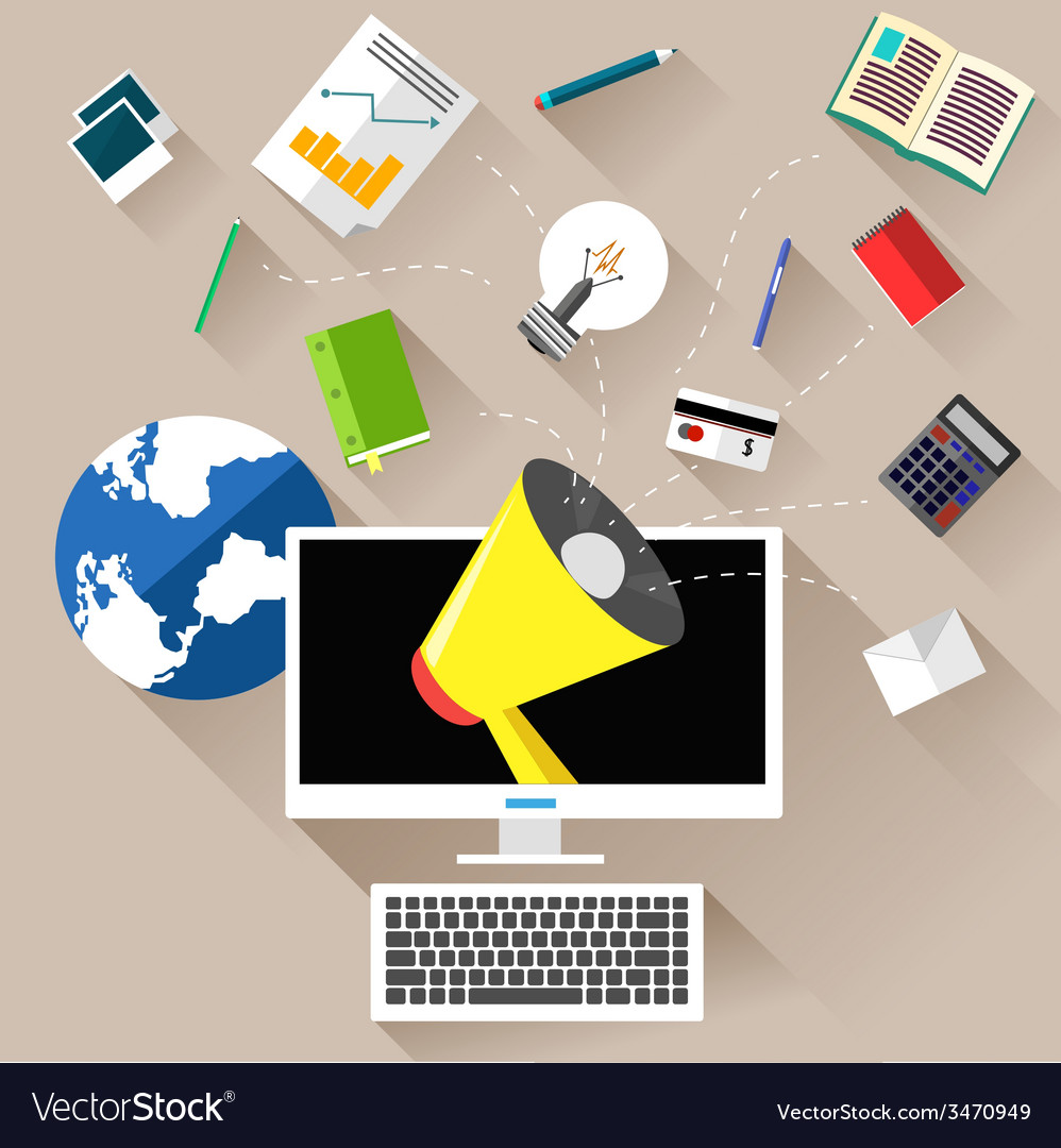 Marketing work tools concept vector