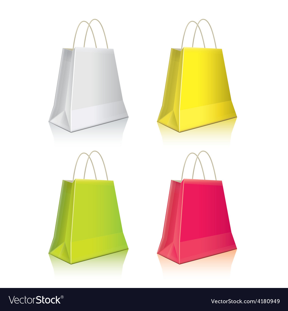Shopping package colorful set vector