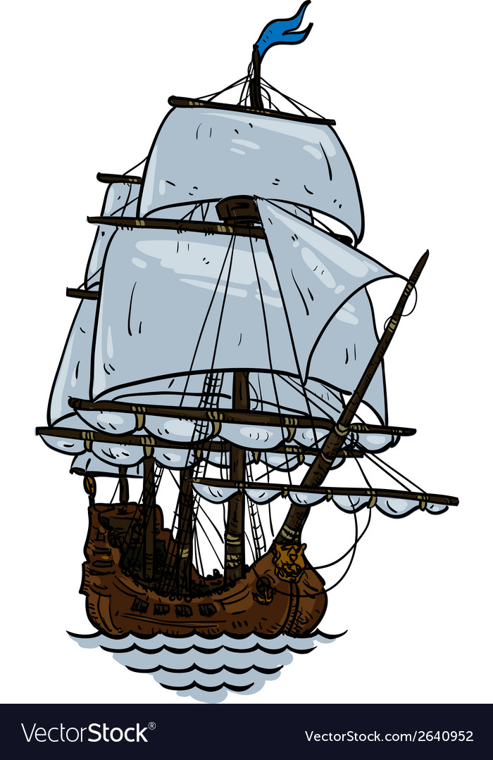 Marine theme sailboat vector