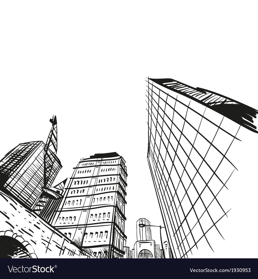 Hand drawn cityscape vector