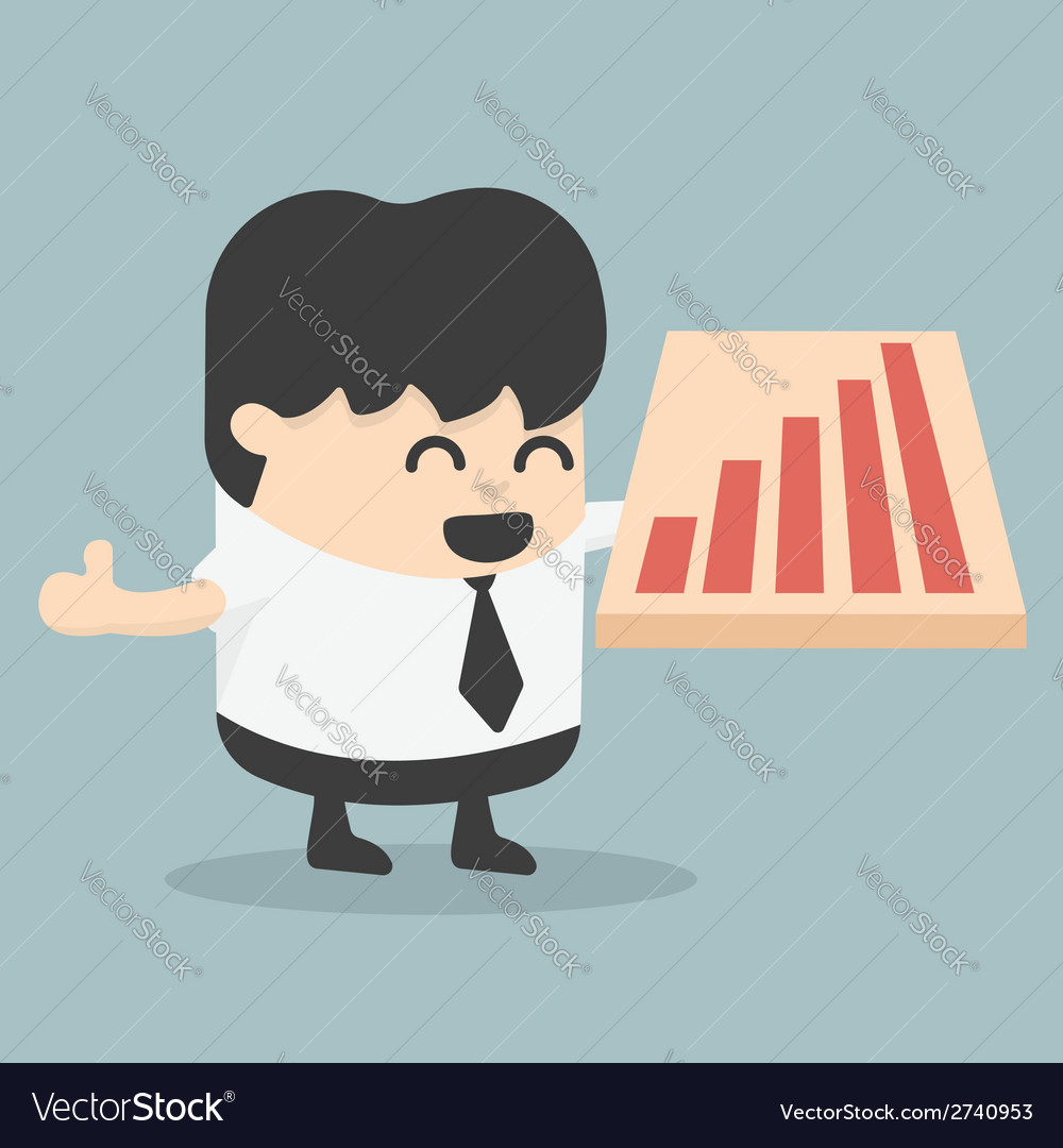 Success smiling businessman with arrow up or offer vector