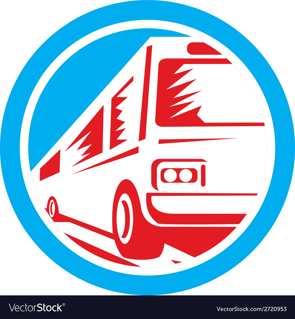 Tourist coach shuttle bus circle retro vector