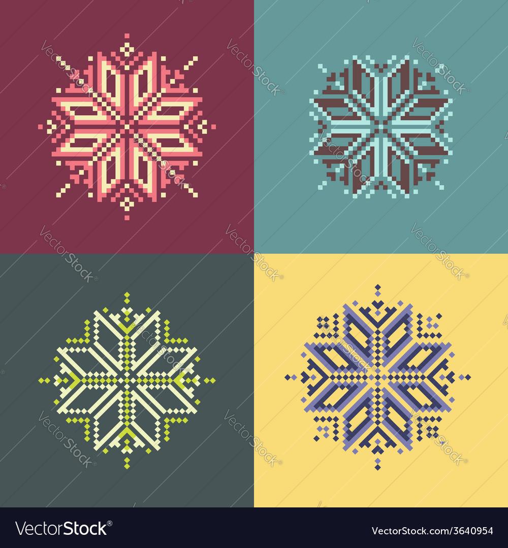 Pixel snowflakes vector