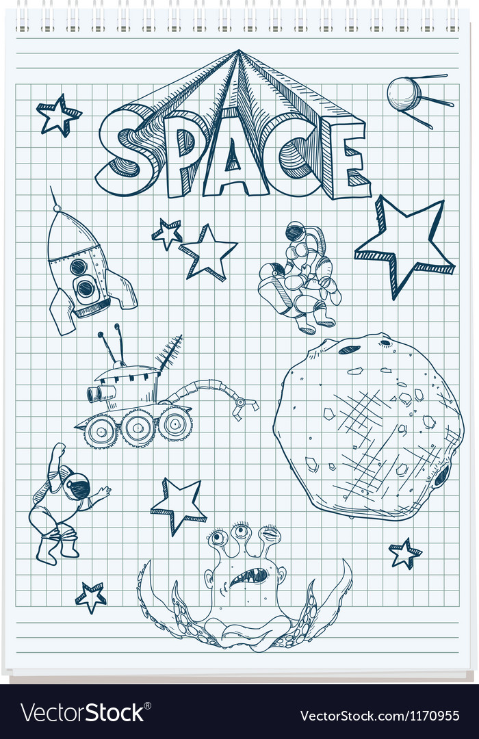 Sketch of space themed vector