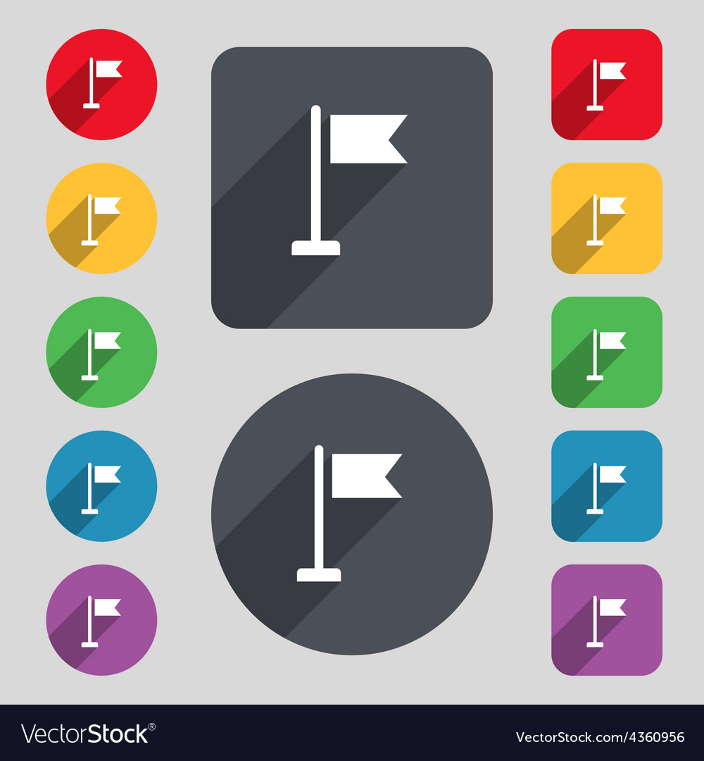 Flag icon sign a set of 12 colored buttons and a vector