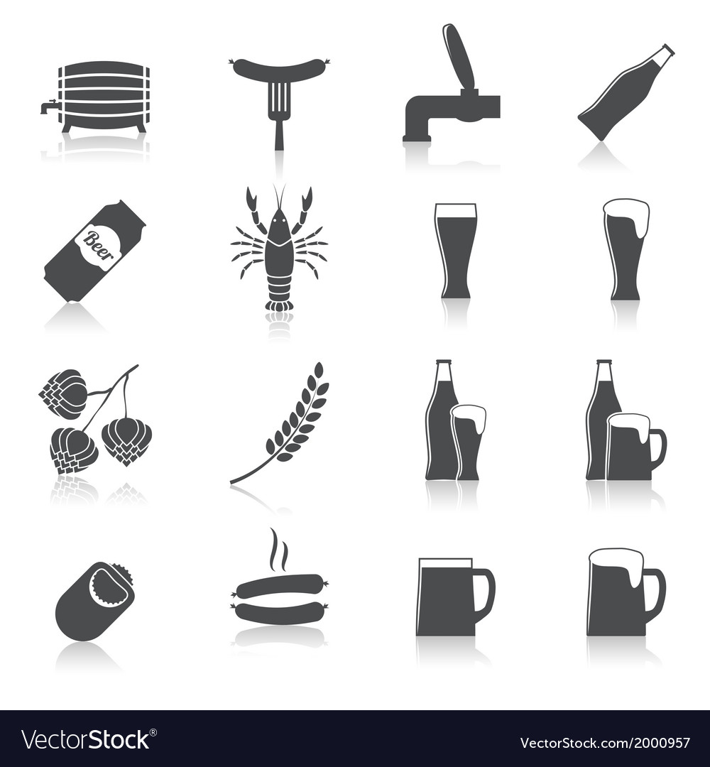 Alcohol beer icons set vector