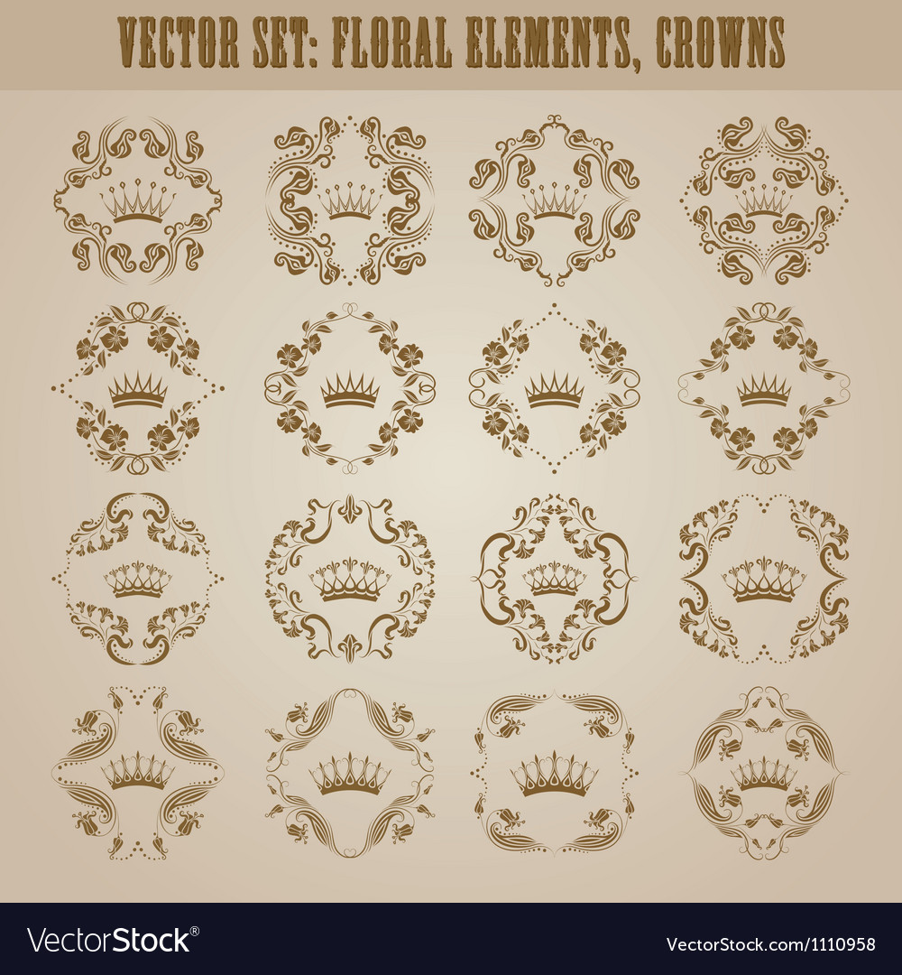 Victorian crown and decorative elements vector