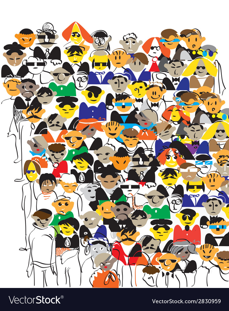 Crowd color vector