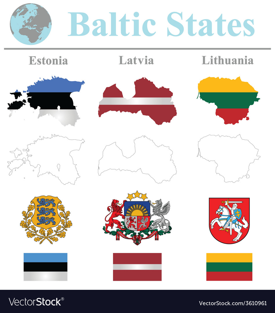 Baltic states flags vector