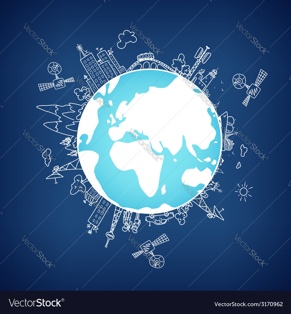 Global information network on the globe vector