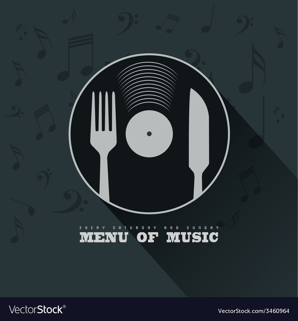 Menu of music with vinyl knife fork and musical vector