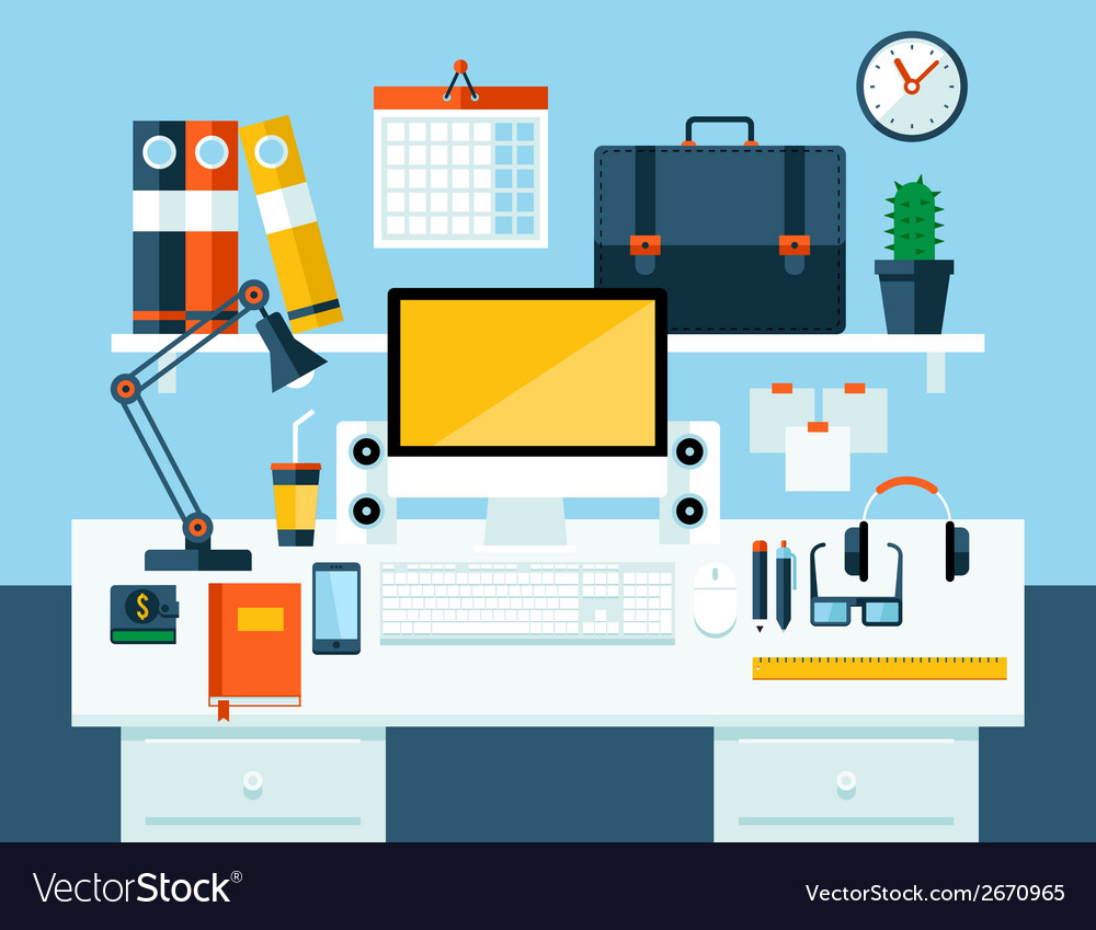 Flat modern design concept of office workspace vector