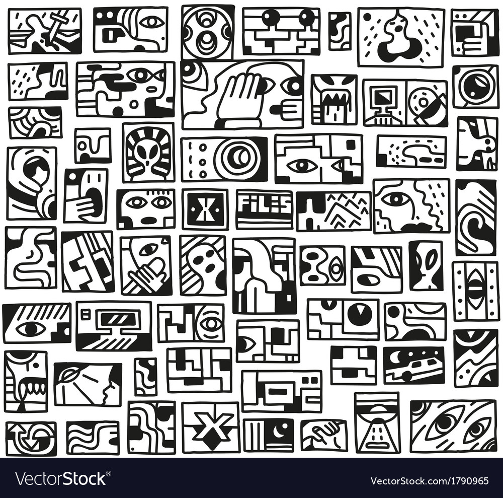 Paranormal things secret crime - doodles set vector