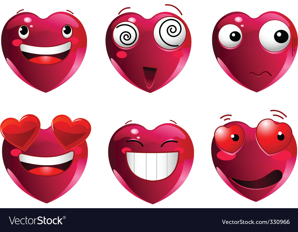Set of heart shape emoticons vector
