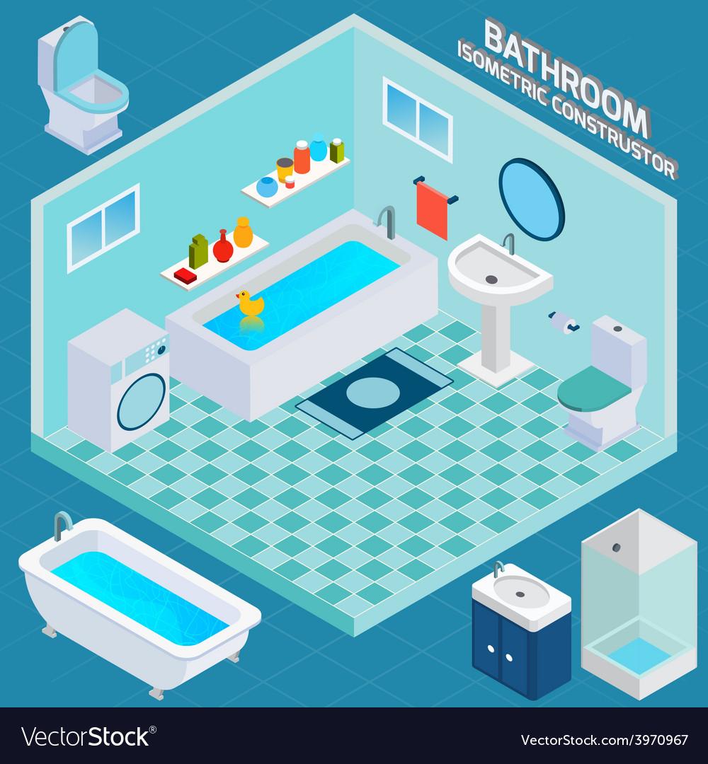 Isometric bathroom interior vector
