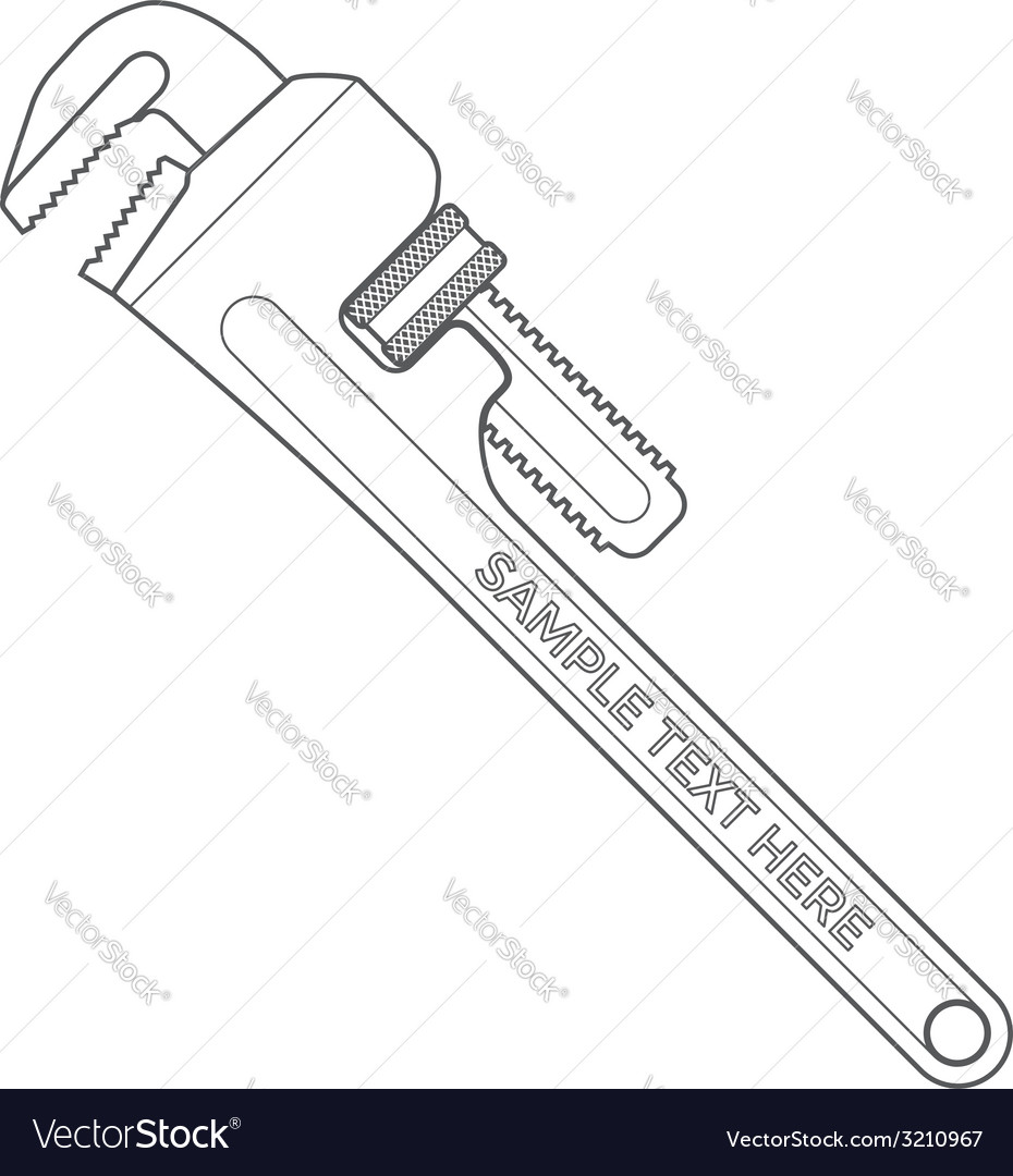 Outline pipe wrench vector