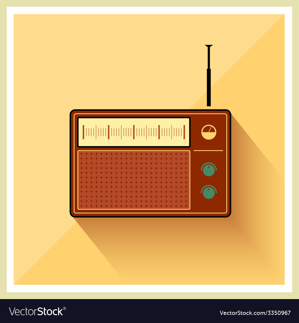 Retro background radio receiver tuner vector