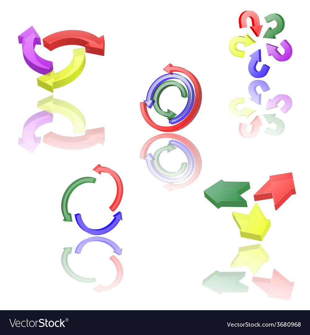 Set of icons or abstract designs - 3d arrows vector