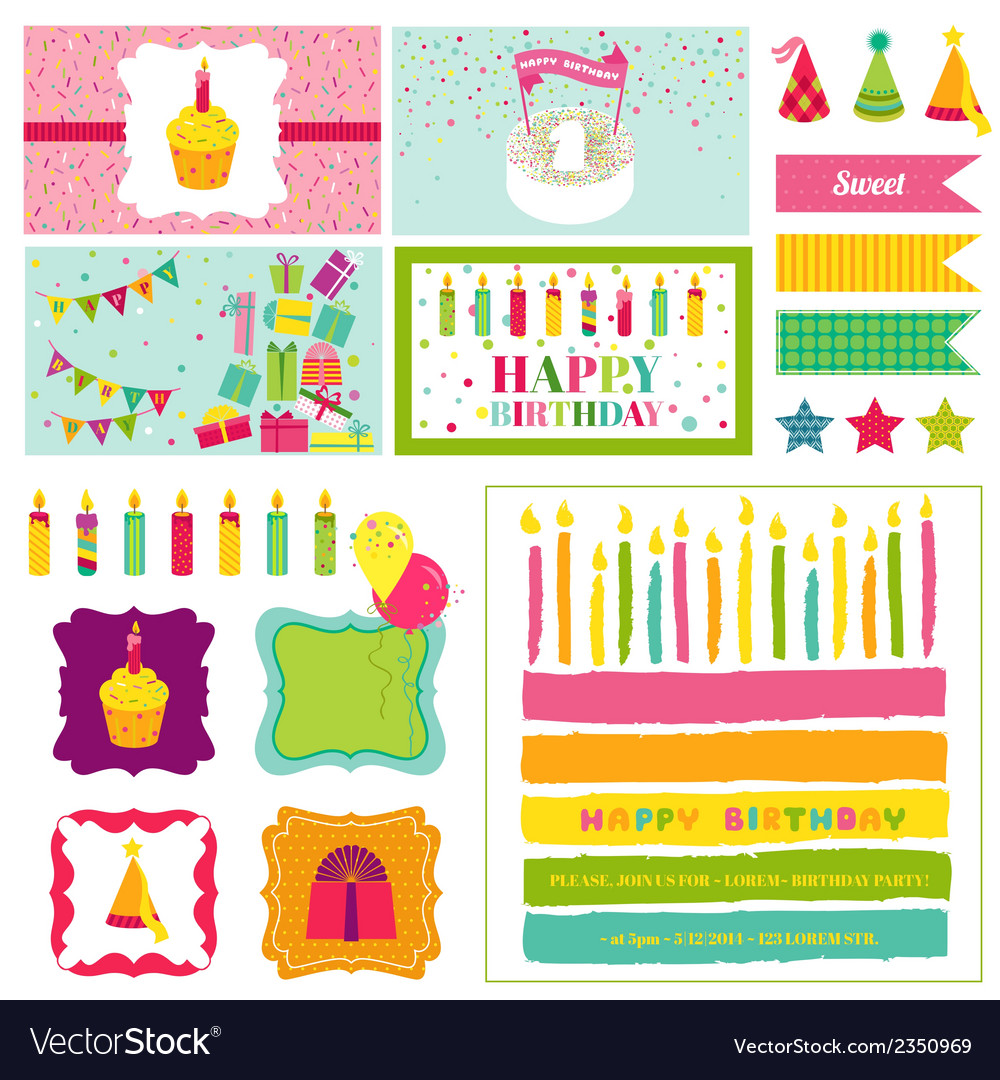Birthday party invitation set - for birthday baby vector