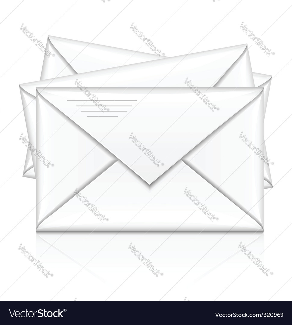 Group of white postal envelope vector