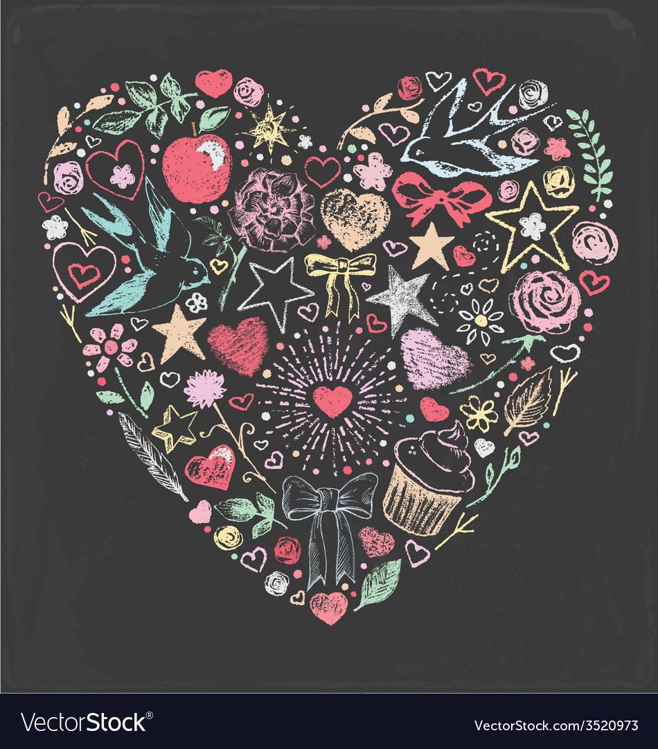 Hand drawn vintage chalk valentine set vector