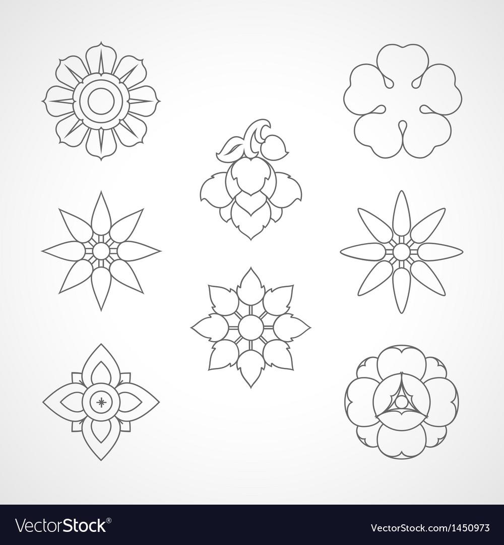 Set thai flower symbol vector
