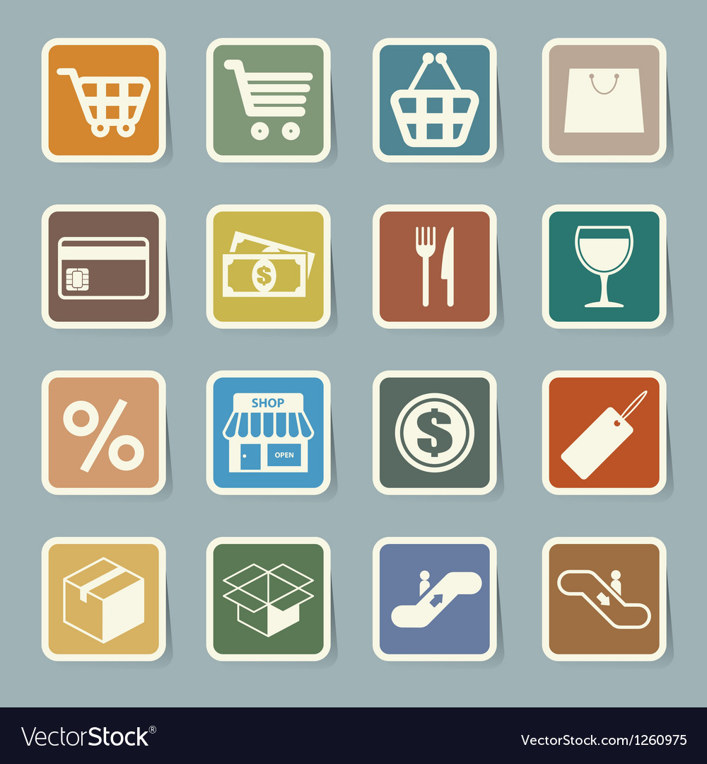 Shopping sticker icons set eps 10 vector