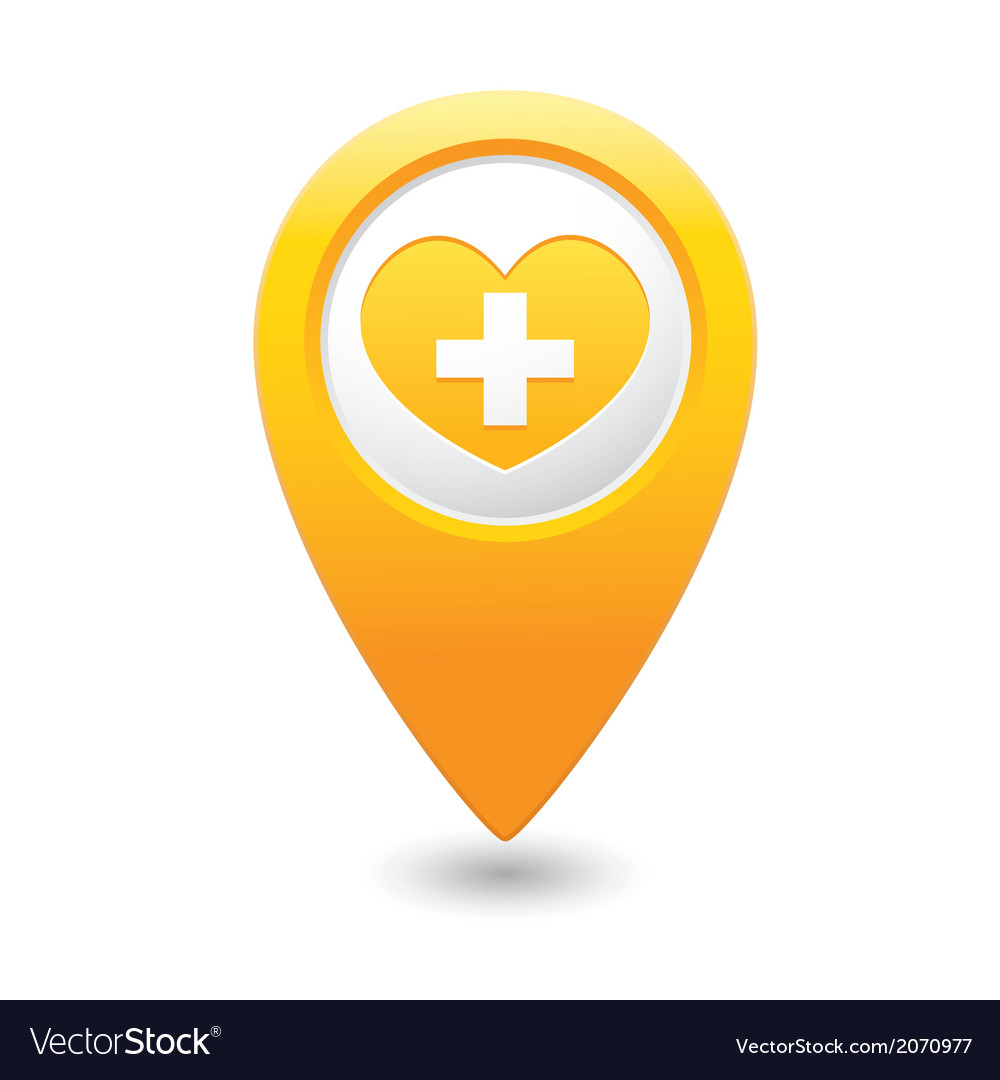 Medical icon yellow pointer vector