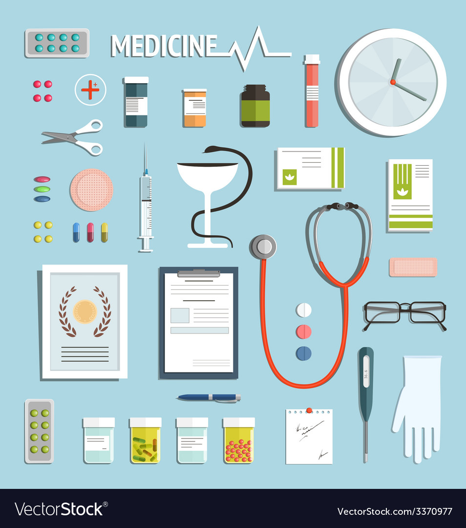 Medicine objects and medicament collection vector