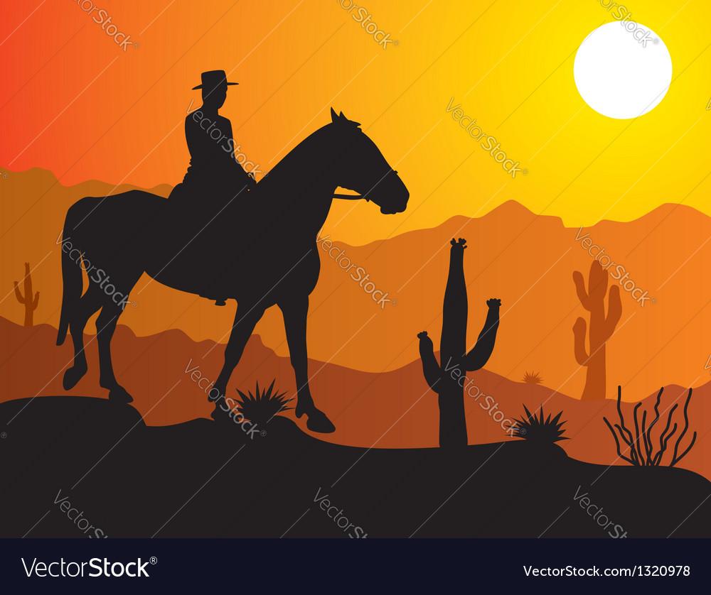 Man on the horse in desert vector