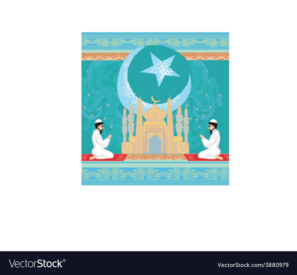Abstract religious background - muslim men praying vector