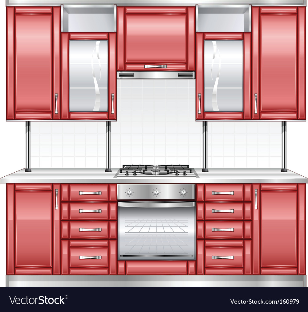 Red kitchen vector