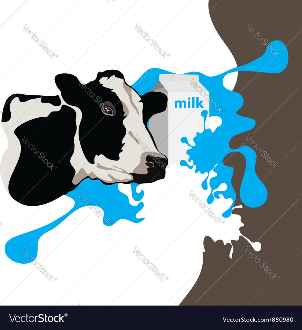 Cow milk package vector