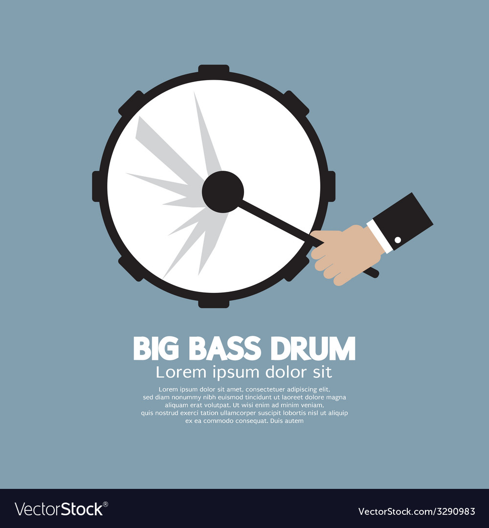 Big bass drum music instrument vector