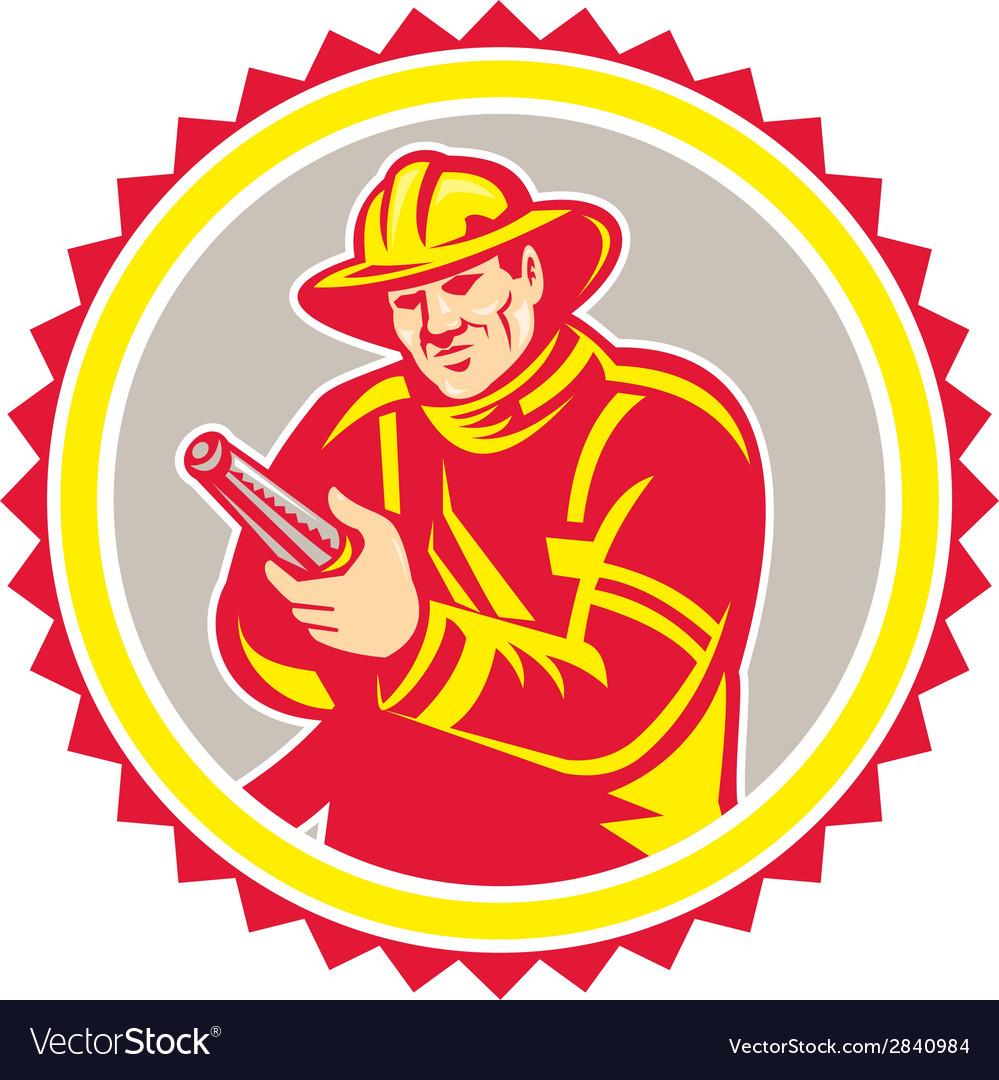Fireman firefighter aiming fire hose rosette vector