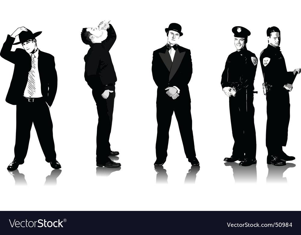 Five men vector