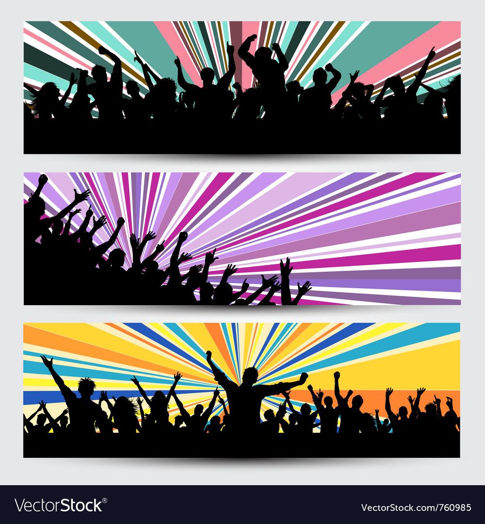 Party crowd banner designs vector